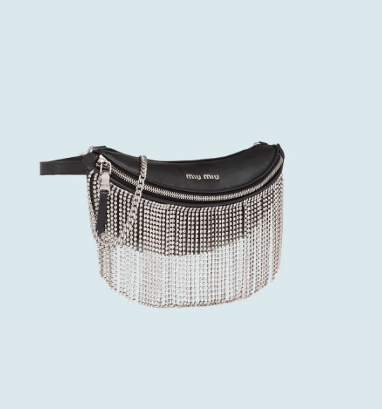 Leather belt bag with crystals LEATHER BELT BAG WITH CRYSTALS